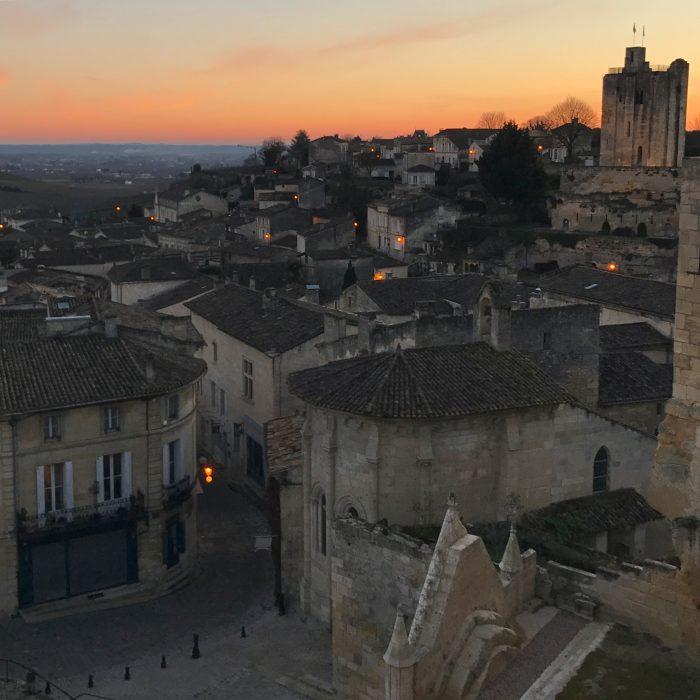 saint emilion sunset 700x700 - A wine tasting tour of Bordeaux including Saint Emilion, Chateau de Sales, & Chateau de Ferrand