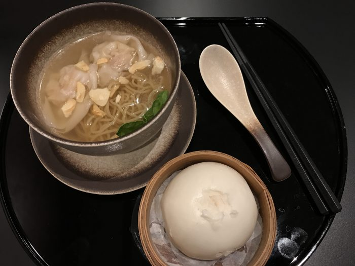 cathay pacific business class lounge london heathrow noodle soup steamed bun 700x525 - Cathay Pacific Business Class Lounge London Heathrow LHR Terminal 3 review