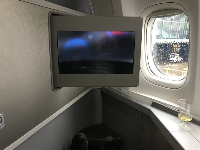 american airlines business class boeing 777 200 london heathrow lhr to los angeles lax champagne inflight entertainment screen 700x525 - American Airlines Business Class Boeing 777-200 London Heathrow LHR to Los Angeles LAX review