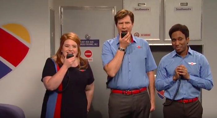 snl southwest airlines rap sketch will ferrell 700x381 - SNL - Southwest Airlines flight attendants rap sketch: Video