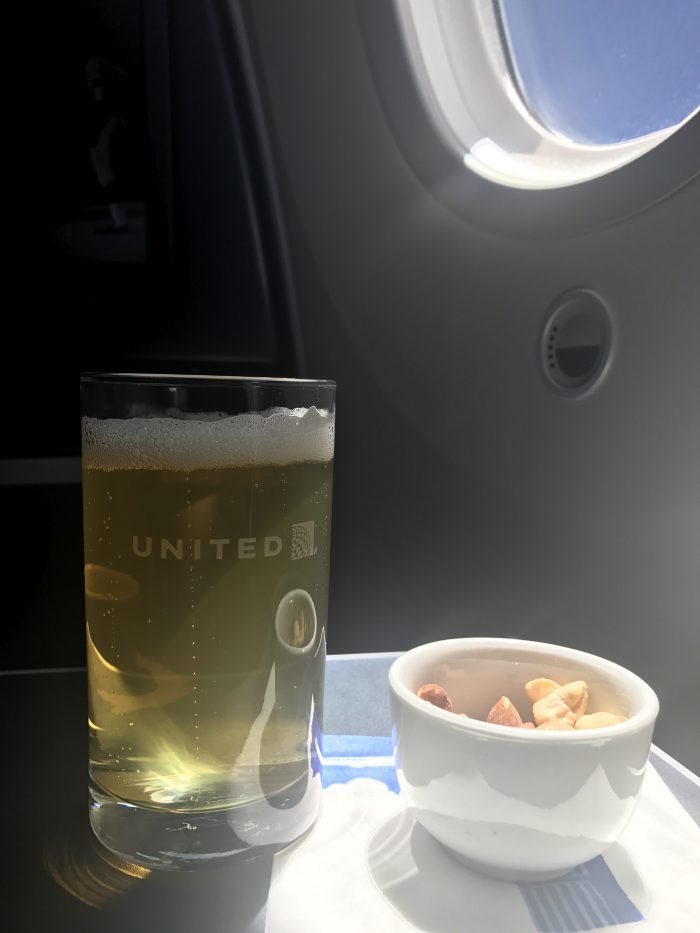 united polaris business class boeing 787 9 san francisco sfo to denver den beer nuts 700x933 - United Polaris Business Class Boeing 787-9 San Francisco SFO to Denver DEN review