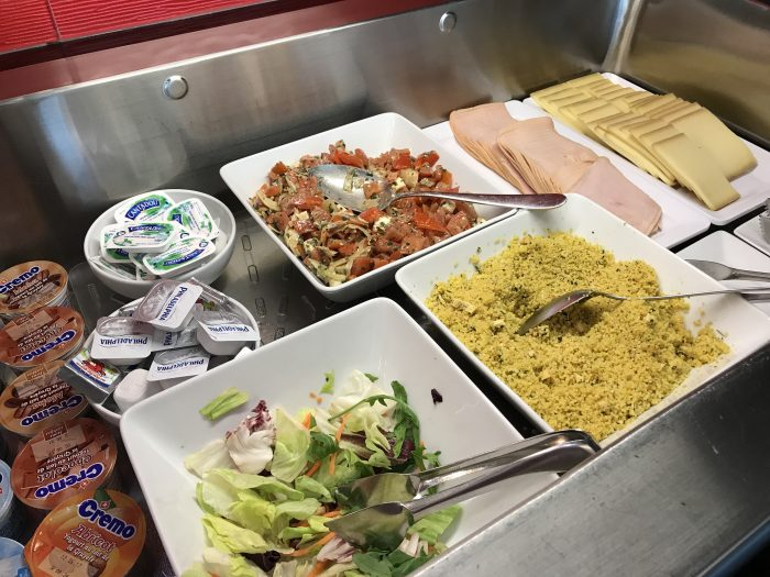 dnata skyview lounge geneva airport meat cheese salads 700x525 - Dnata SkyView Lounge Geneva Airport GVA review