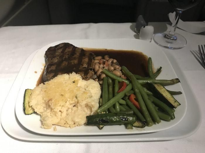 lufthansa business class boeing 747 400 denver den to frankfurt fra dinner 700x525 - Lufthansa Business Class Boeing 747-400 Denver DEN to Frankfurt FRA review