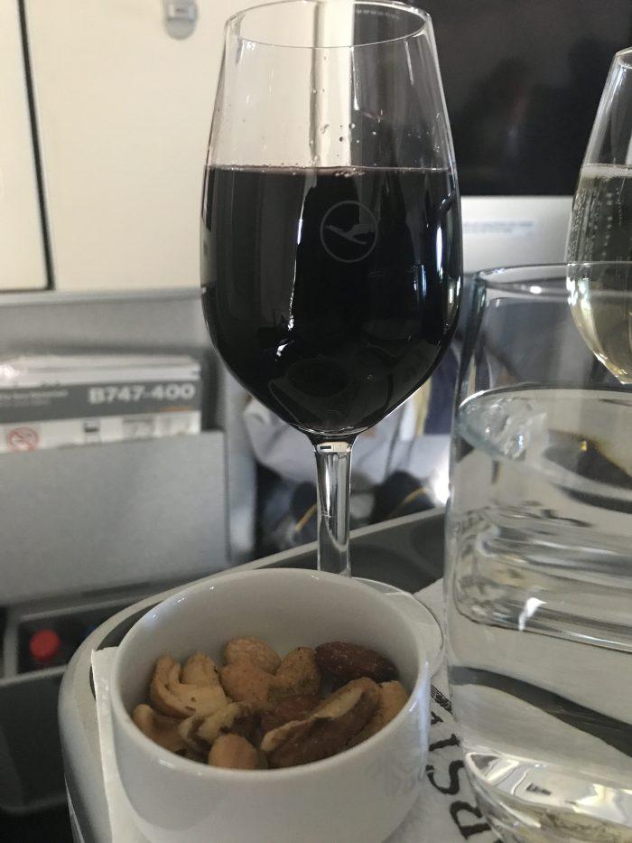 lufthansa business class boeing 747 400 denver den to frankfurt fra wine nuts 700x933 - Lufthansa Business Class Boeing 747-400 Denver DEN to Frankfurt FRA review