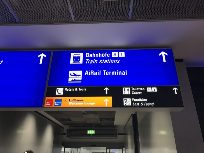 lufthansa welcome lounge frankfurt airport sign 700x525 - Lufthansa Welcome Lounge Frankfurt Airport FRA review