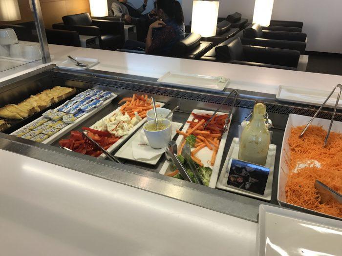 swiss business class lounge geneva airport vegetables salads 700x525 - Swiss Business Class Lounge Geneva Airport GVA review