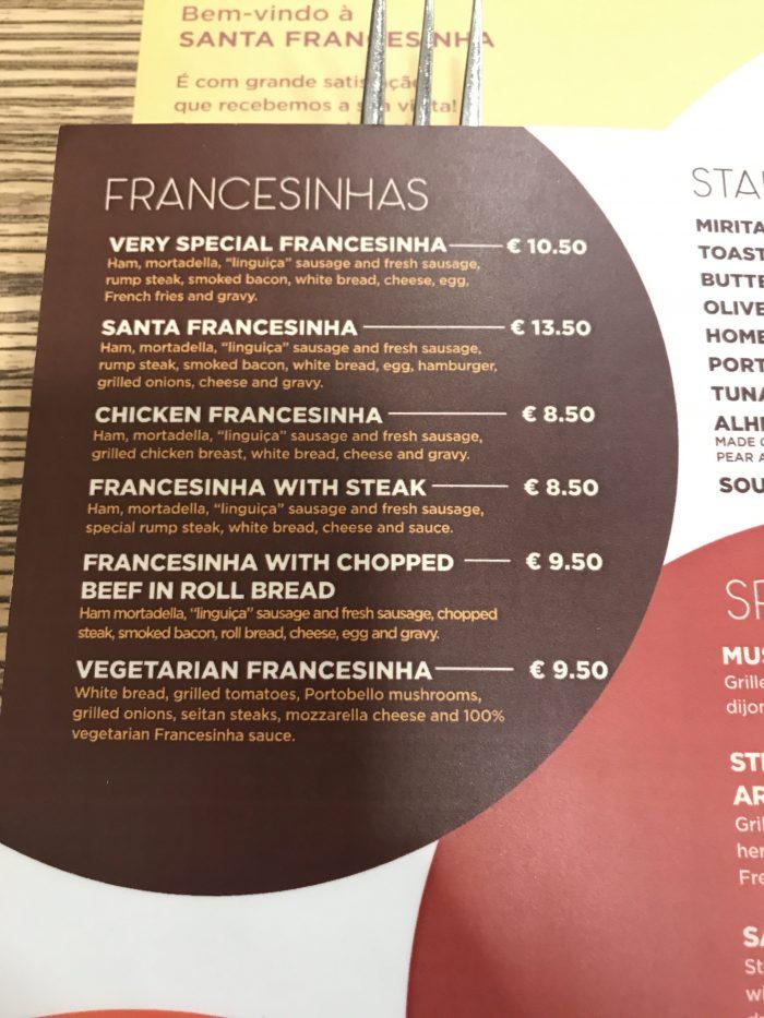 santa francesinha menu porto 700x933 - A guide to the Francesinha: Porto's favorite sandwich