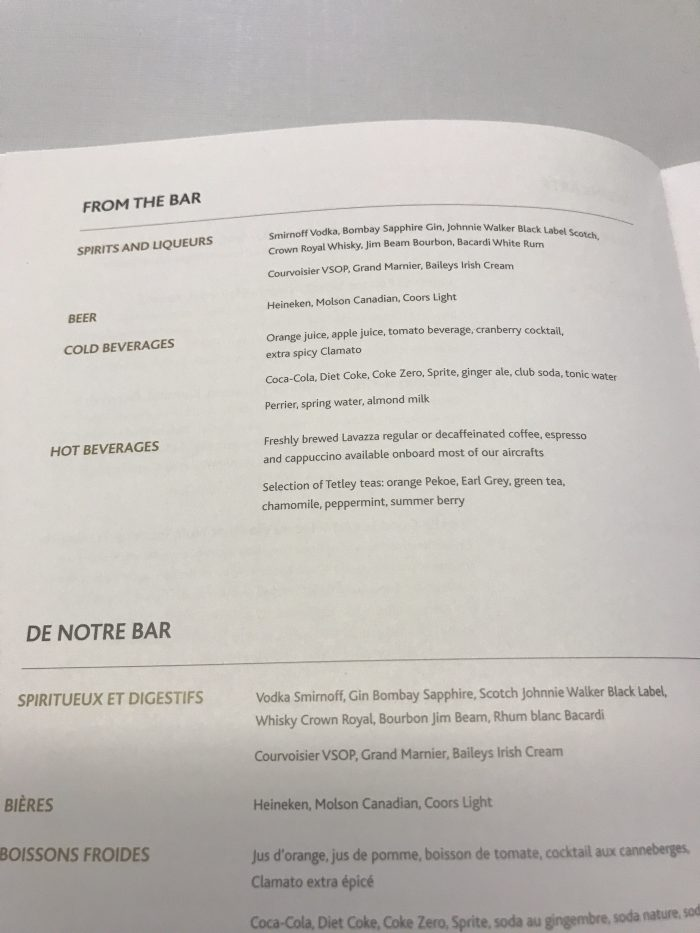 air canada business class drinks menu boeing 777 200lr frankfurt fra to calgary yyc 700x933 - Air Canada Business Class Boeing 777-200LR Frankfurt FRA to Calgary YYC review