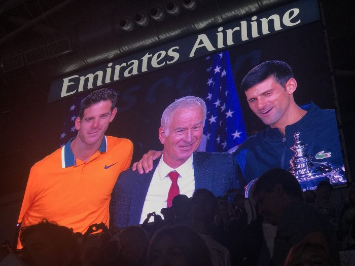 juan martin del potro john mcenroe novak djokovic 700x525 - I won a travel contest & attended the U.S. Open Final