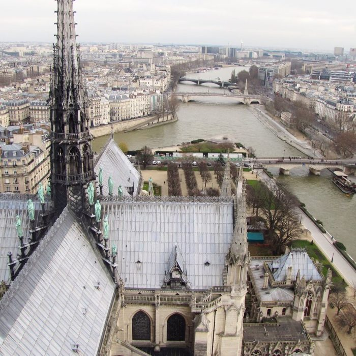 notre dame cathedral roof seine 700x700 - On Notre-Dame Cathedral, evolution, growth, & rebuilding