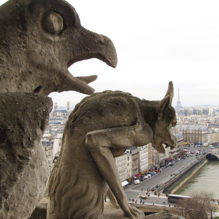 notre dame gargoyles eiffel tower 700x700 - On Notre-Dame Cathedral, evolution, growth, & rebuilding