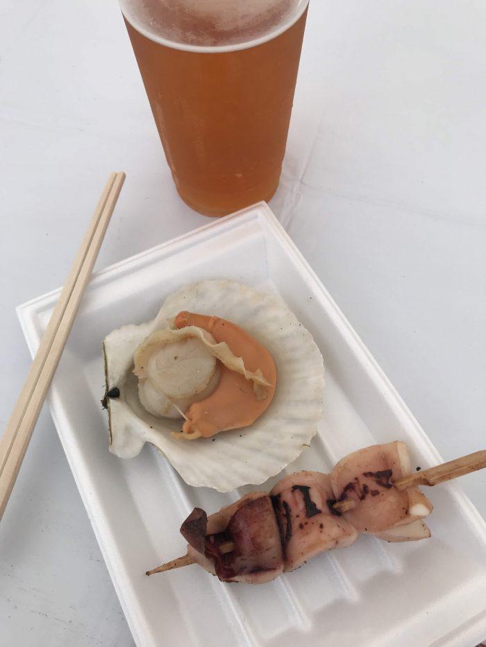 hokkaido food fair grilled seafood beer 700x933 - A visit to the Hokkaido Food Fair in Tokyo, Japan