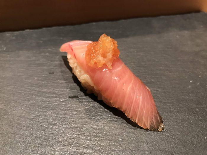 manten sushi marunouchi omakase amberjack 700x525 - Eating omakase at Manten Sushi Marunouchi in Tokyo, Japan