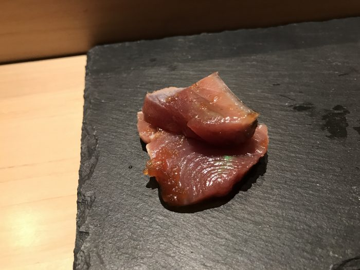 manten sushi marunouchi omakase bonito 700x525 - Eating omakase at Manten Sushi Marunouchi in Tokyo, Japan