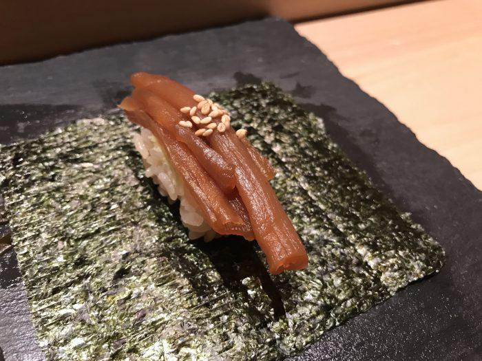 manten sushi marunouchi omakase dried cucumber 700x525 - Eating omakase at Manten Sushi Marunouchi in Tokyo, Japan
