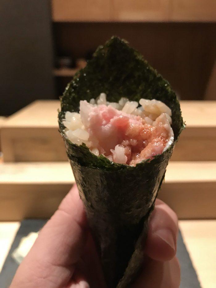 manten sushi marunouchi omakase tuna hand roll 700x933 - Eating omakase at Manten Sushi Marunouchi in Tokyo, Japan