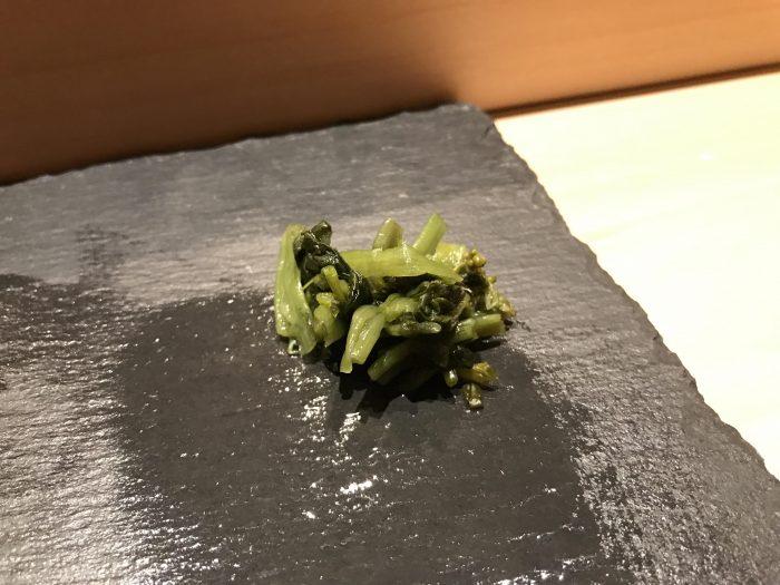 manten sushi marunouchi omakase wasabi leaf 700x525 - Eating omakase at Manten Sushi Marunouchi in Tokyo, Japan