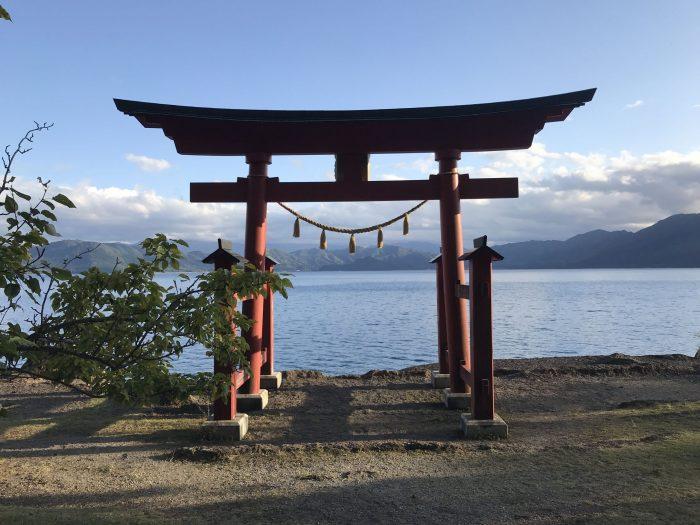 gozanoishi torii gate 700x525 - A day trip from Morioka to Lake Tazawa, Japan