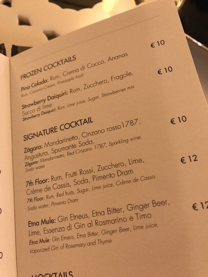 etnea roof bar menu 700x933 - Four cool cocktail bars in Catania, Sicily