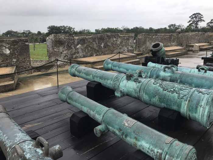castillo de san marcos cannons 700x525 - A weekend trip to St. Augustine, Florida