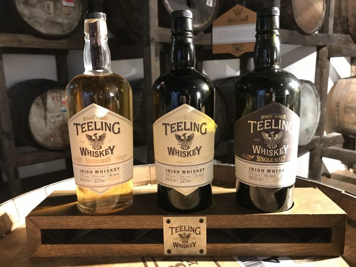 teeling whiskey bottles 700x525 - Teeling Distillery tour & tasting in Dublin, Ireland