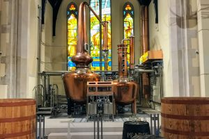 pearse lyons distillery copper pot stills stained glass windows 300x200 - Pearse Lyons Distillery tour & tasting in Dublin, Ireland