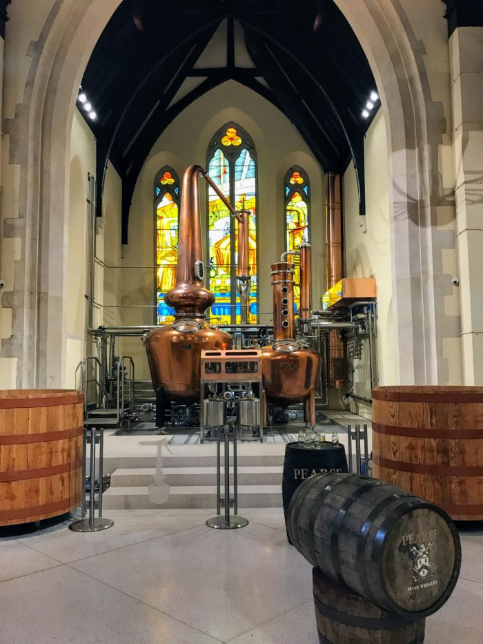 pearse lyons distillery copper pot stills stained glass windows 700x933 - Pearse Lyons Distillery tour & tasting in Dublin, Ireland