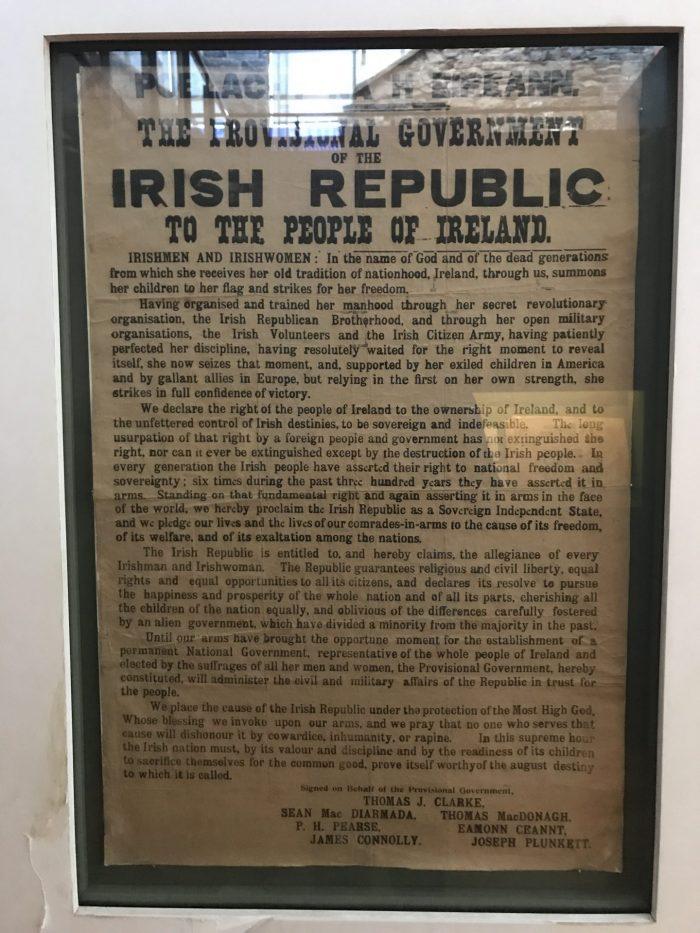 1916 republic proclamation ireland 700x933 - Kilmainham Gaol - Dublin, Ireland's famous prison & historic site