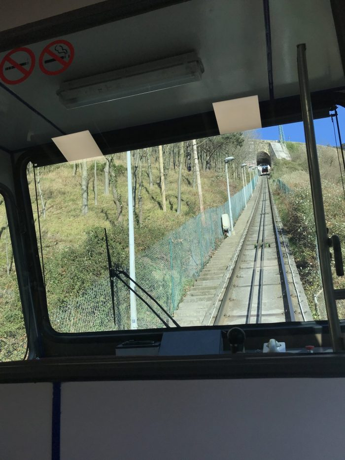 riding up the funicular de artxanda bilbao 700x933 - Funicular de Artxanda in Bilbao, Spain